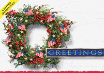 Patriotic Wreath Holiday Greeting Cards